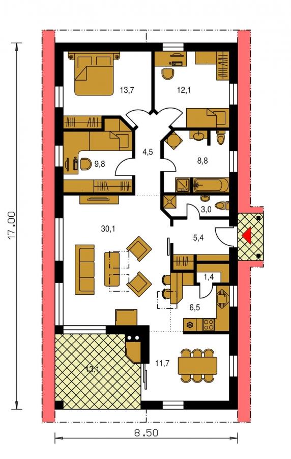 Pôdorys Prízemia - Úzky rodinný dom s prekrytou terasou, spracovaný v 3d realite.