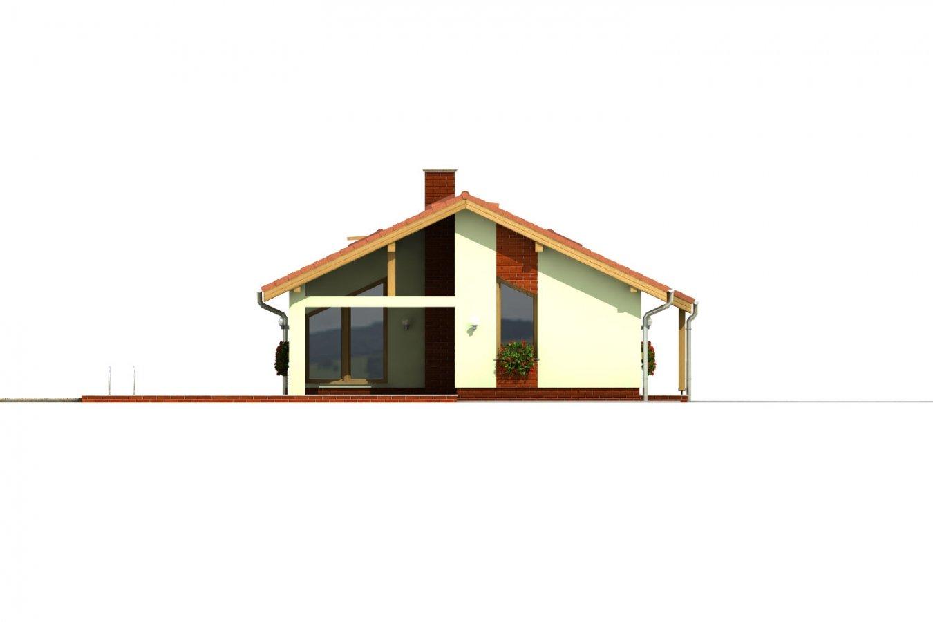 Pohľad 1. - Úzky rodinný dom s prekrytou terasou, spracovaný v 3d realite.