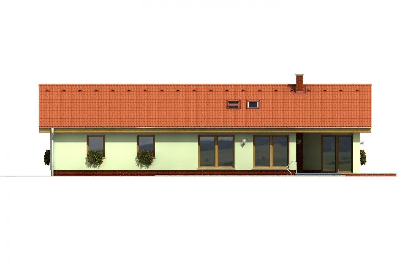 Pohľad 2. - Úzky rodinný dom s prekrytou terasou, spracovaný v 3d realite.
