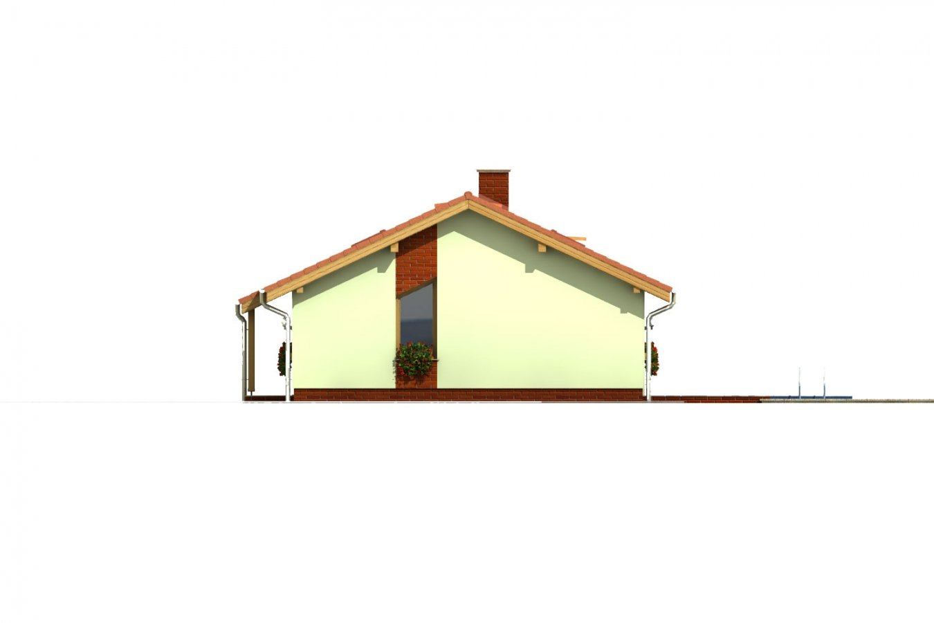 Pohľad 3. - Úzky rodinný dom s prekrytou terasou, spracovaný v 3d realite.