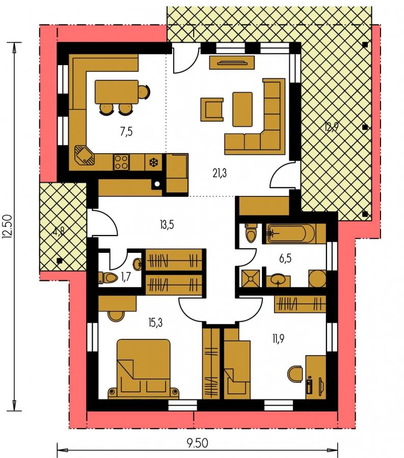 Pôdorys Prízemia - Dom na úzky pozemok s krytou terasou