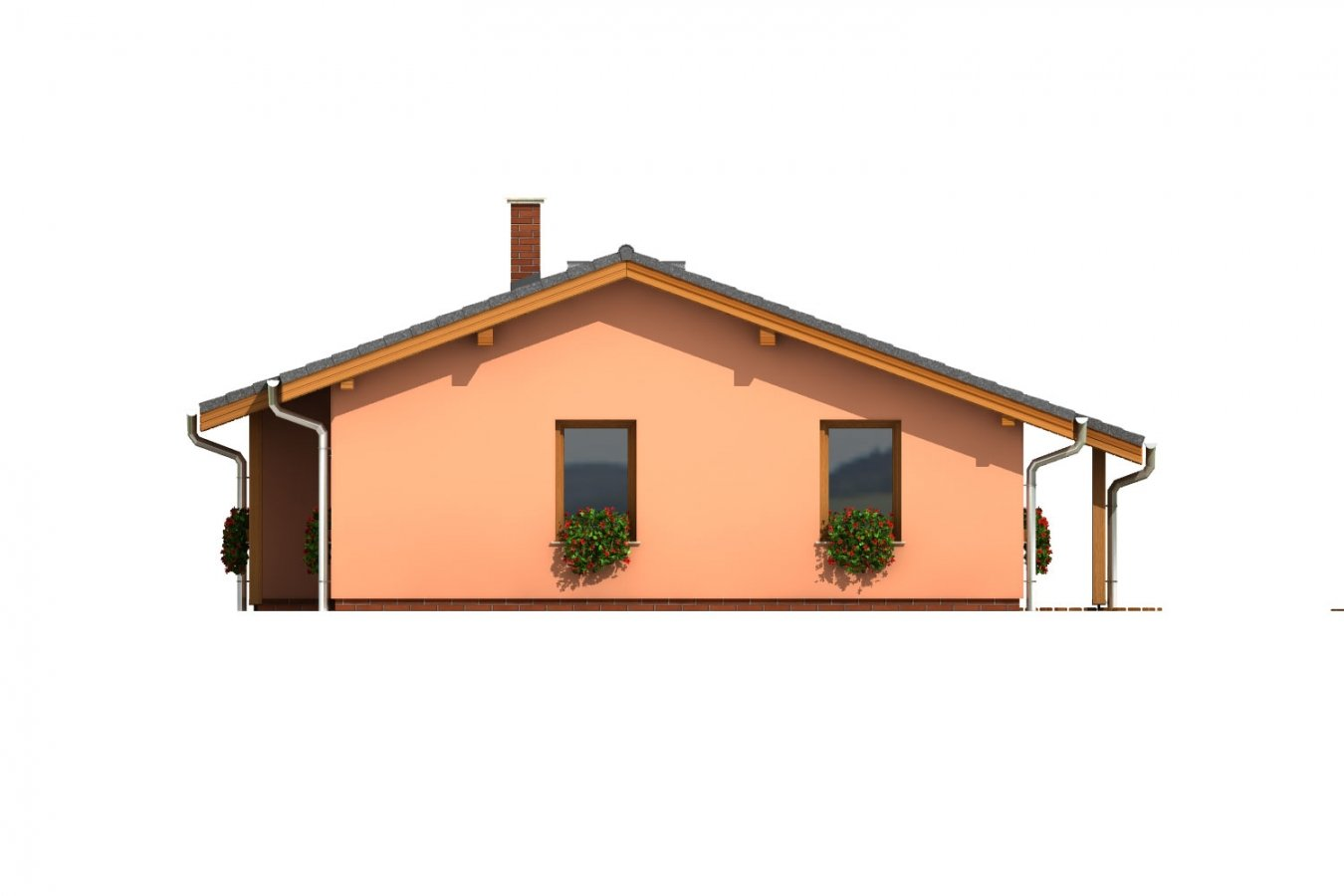 Pohľad 1. - Dom na úzky pozemok s krytou terasou.