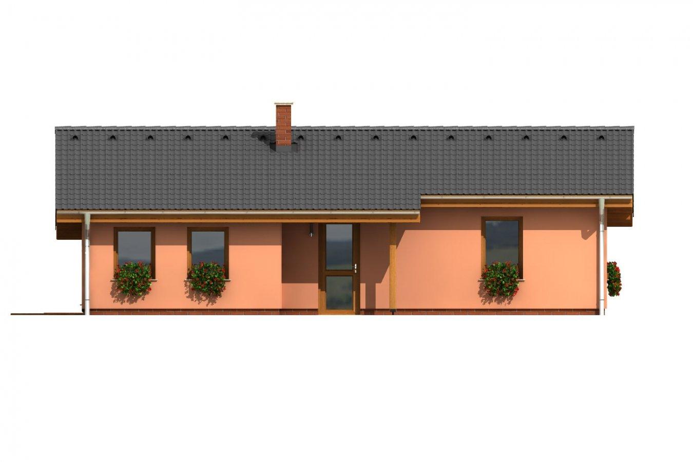 Pohľad 2. - Dom na úzky pozemok s krytou terasou.