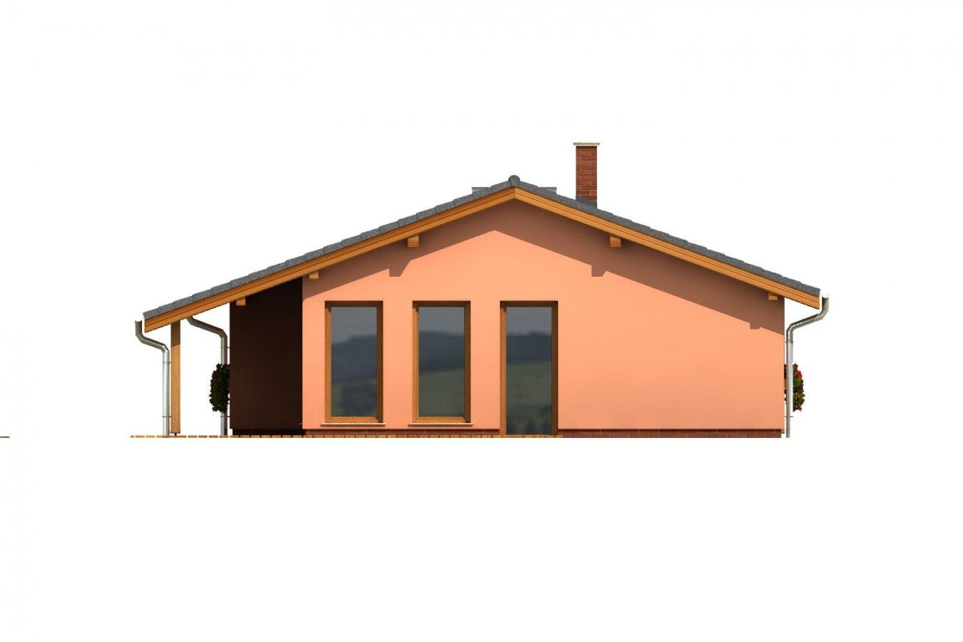 Pohľad 3. - Dom na úzky pozemok s krytou terasou.
