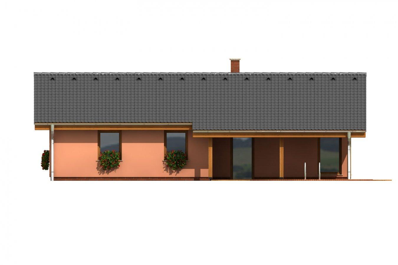 Pohľad 4. - Dom na úzky pozemok s krytou terasou.