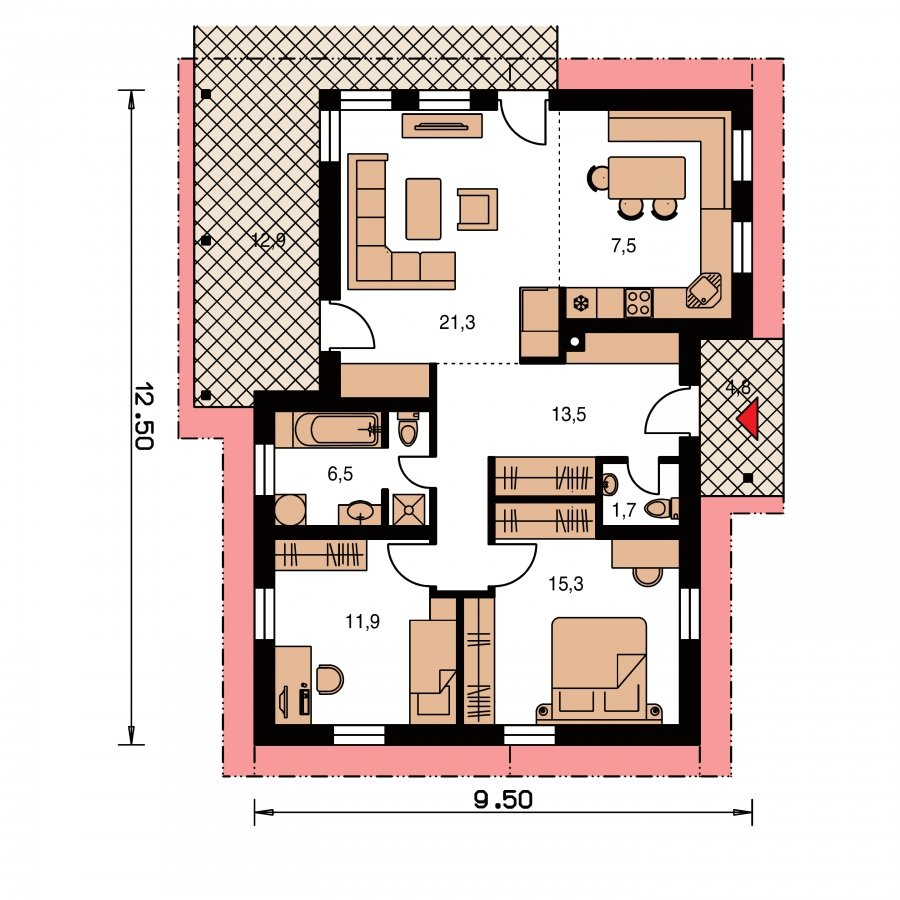 Pôdorys Prízemia - Dom na úzky pozemok