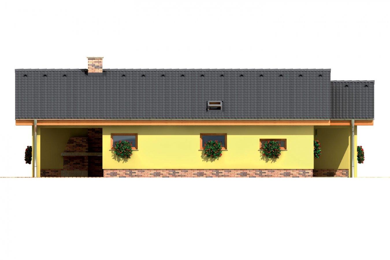 Pohľad 2. - Dom do L bez stropnej konštrukcie.