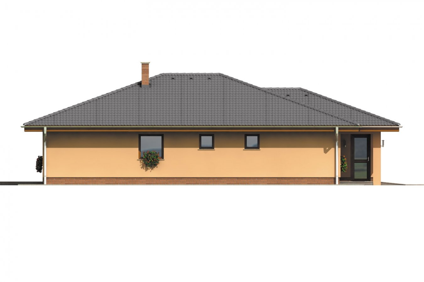 Pohľad 2. - Bungalov s veľkou garážou a terasou.
