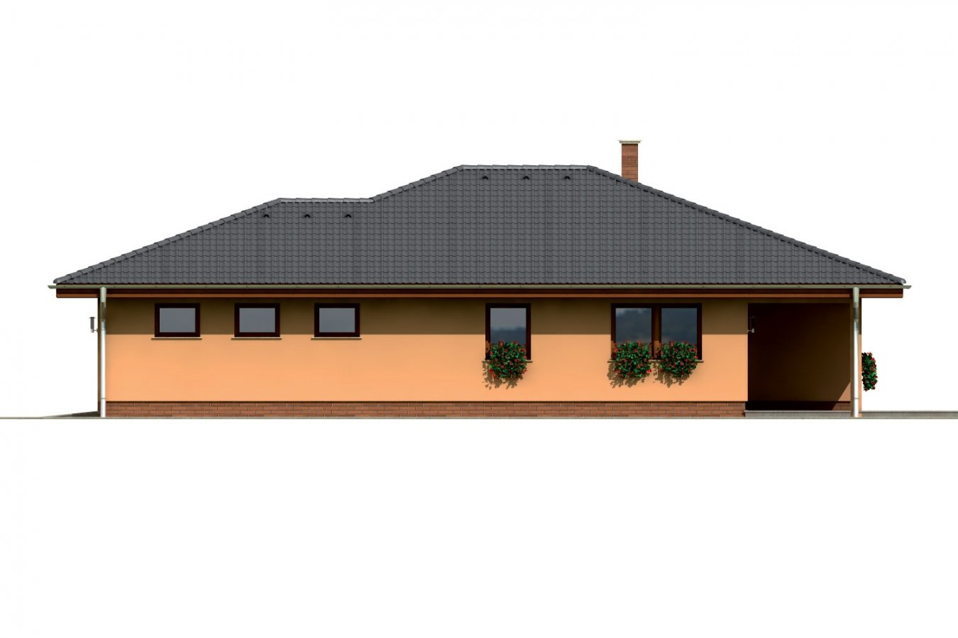 Pohľad 4. - Bungalov s veľkou garážou a terasou.