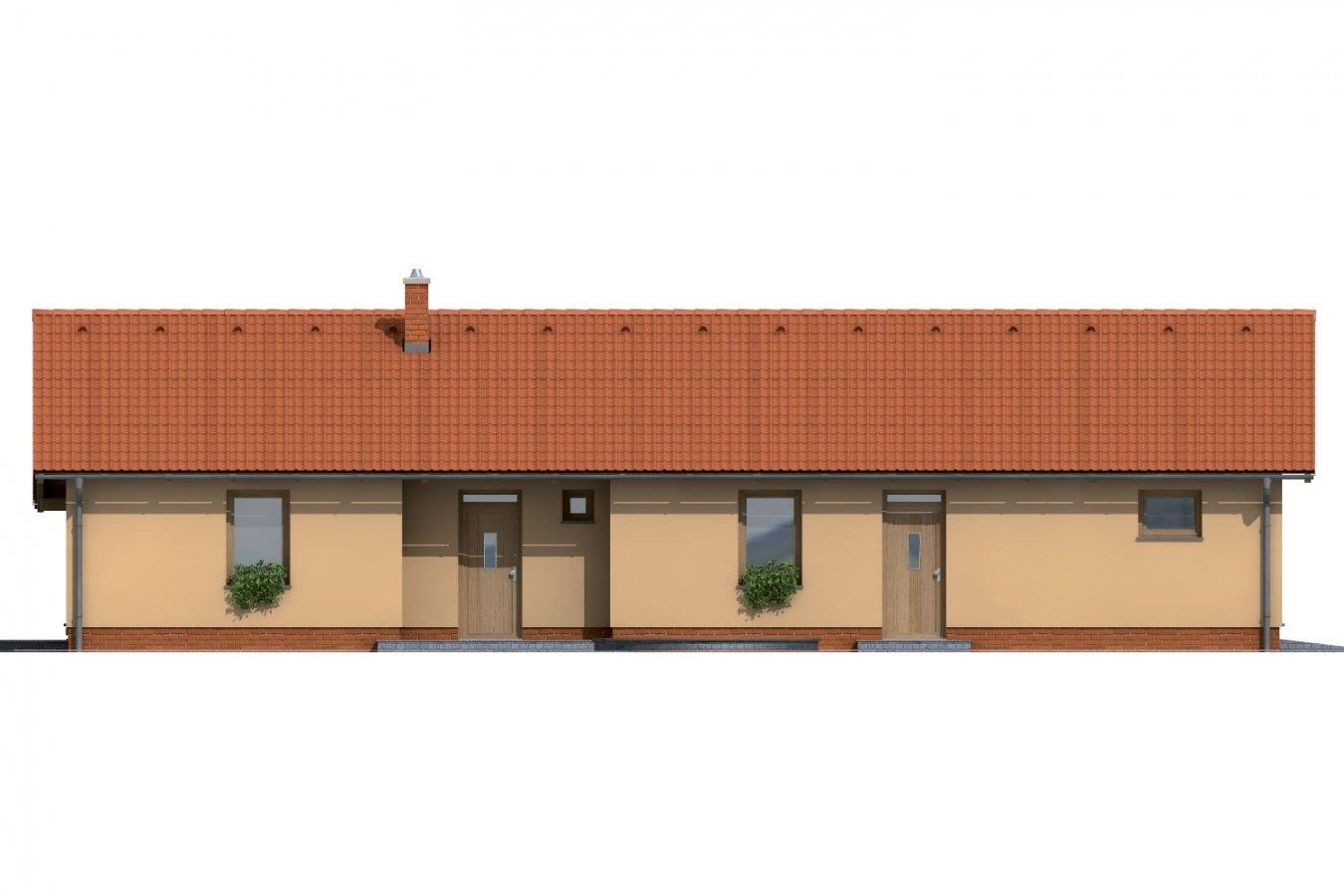 Pohľad 1. - Úzky rodinný dom s garážou.