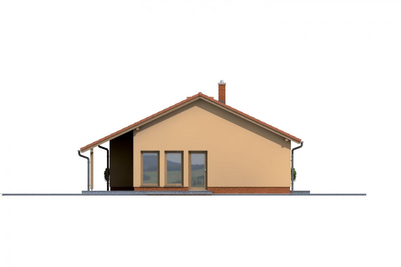 Pohľad 2. - Úzky rodinný dom s garážou.