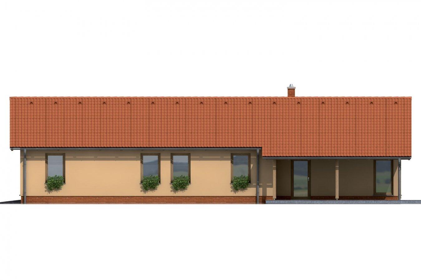 Pohľad 3. - Úzky rodinný dom s garážou.