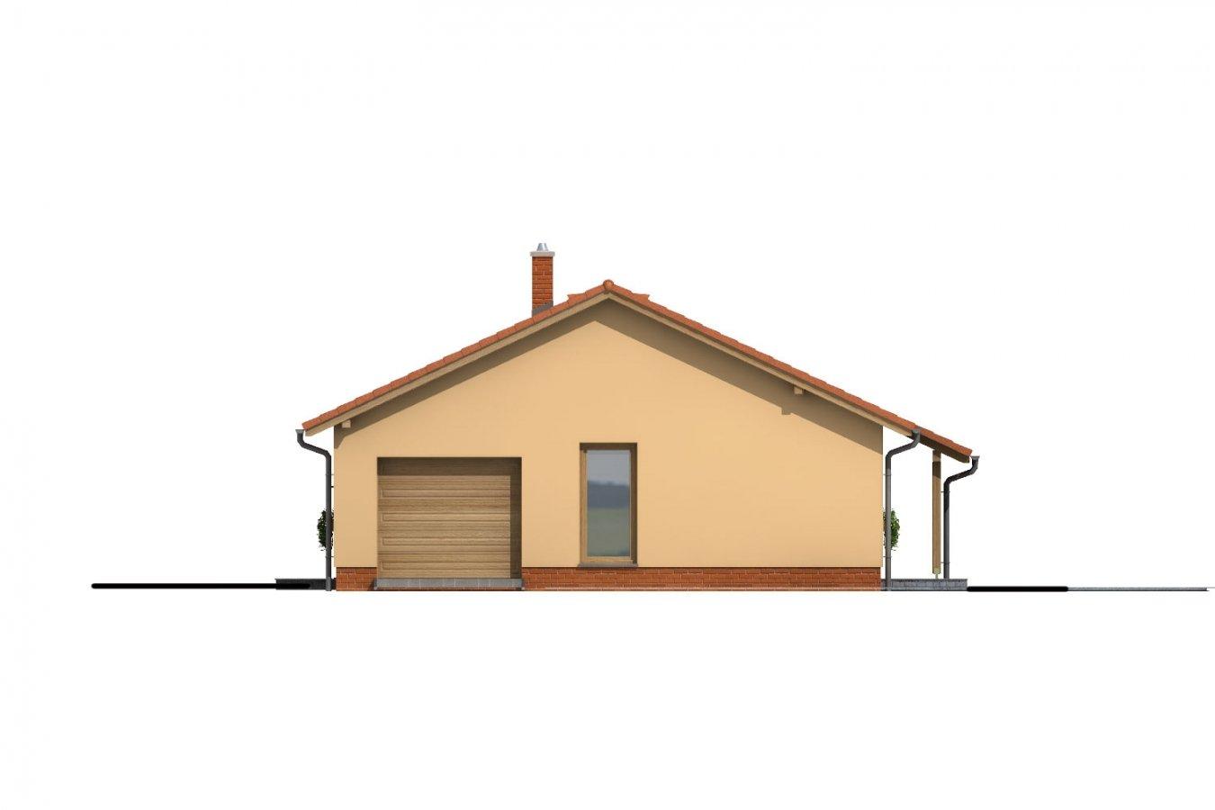 Pohľad 4. - Úzky rodinný dom s garážou.
