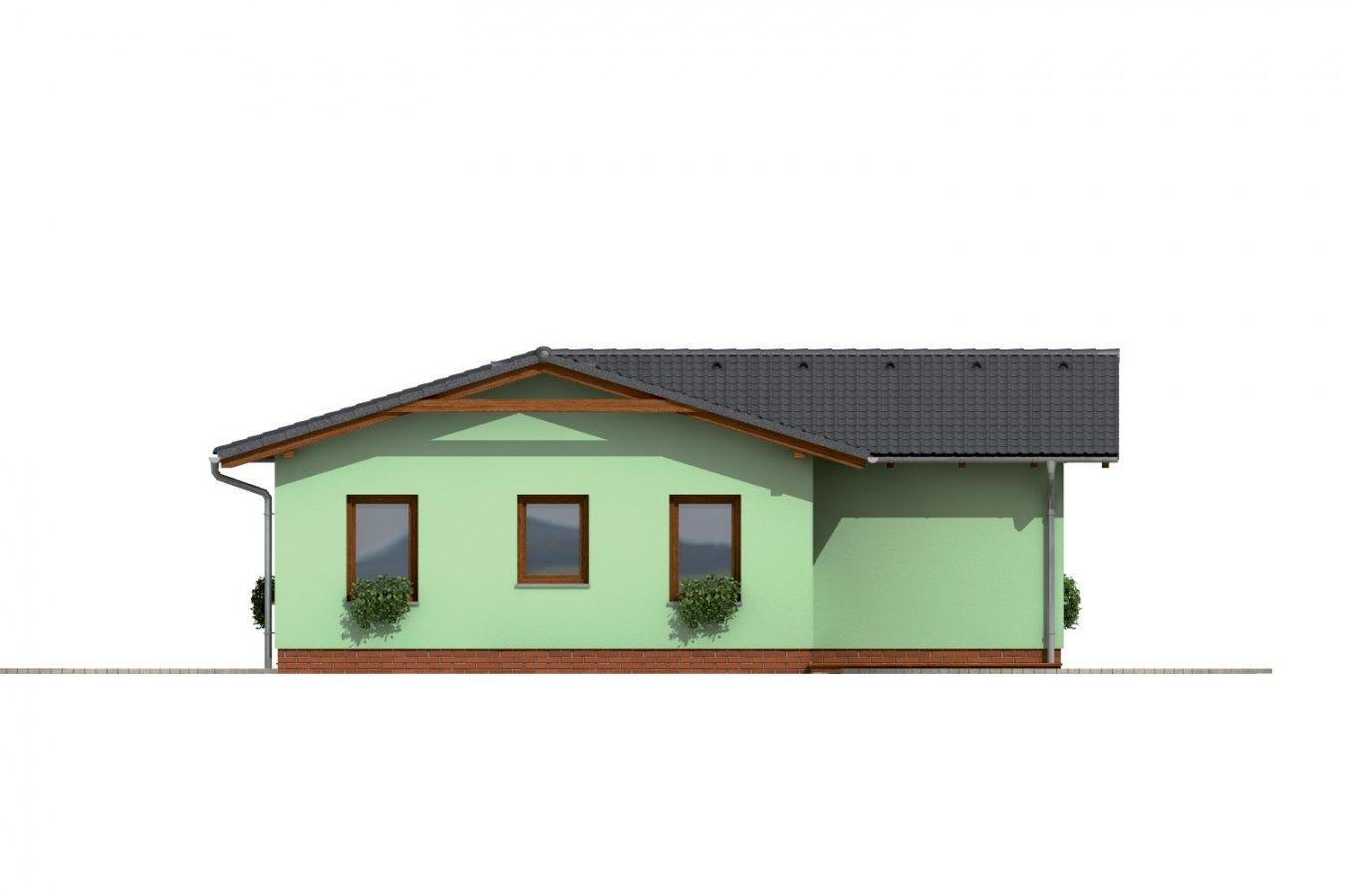 Pohľad 4. - Dom do L so sedlovou strechou