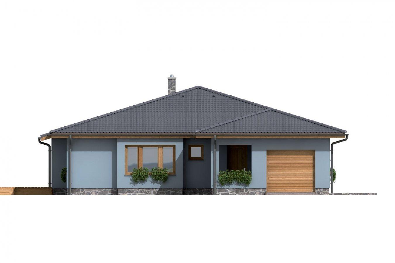 Pohľad 1. - Dom v tvare L s garážou a terasou.