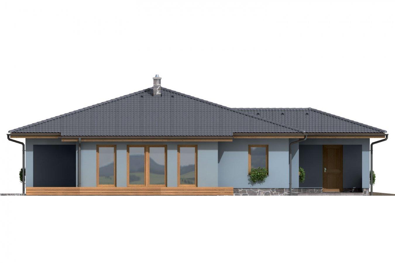 Pohľad 2. - Dom v tvare L s garážou a terasou.