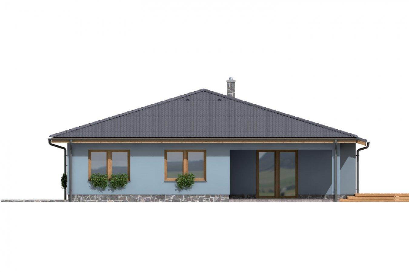 Pohľad 3. - Dom v tvare L s garážou a terasou.