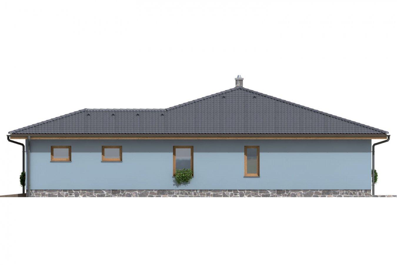 Pohľad 4. - Dom v tvare L s garážou a terasou.