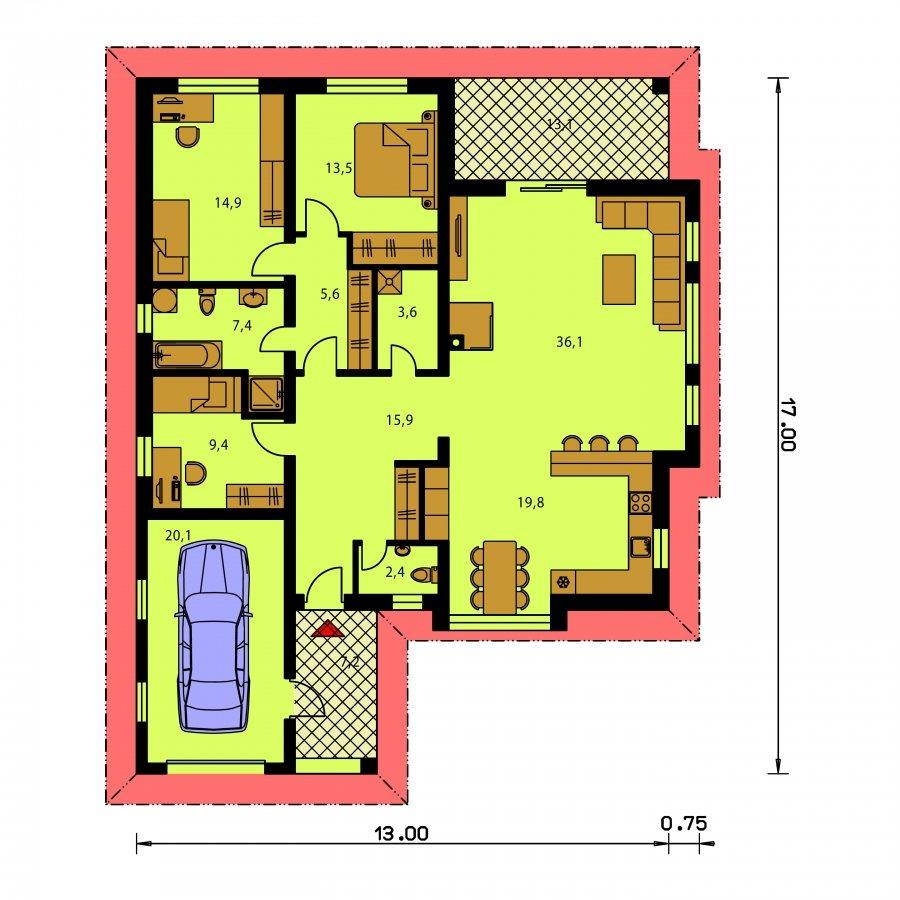 Pôdorys Prízemia - Dom v tvare L s garážou a terasou