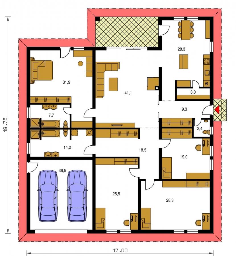 Pôdorys Prízemia - Exkluzívny bungalov s dvomi garážami.
