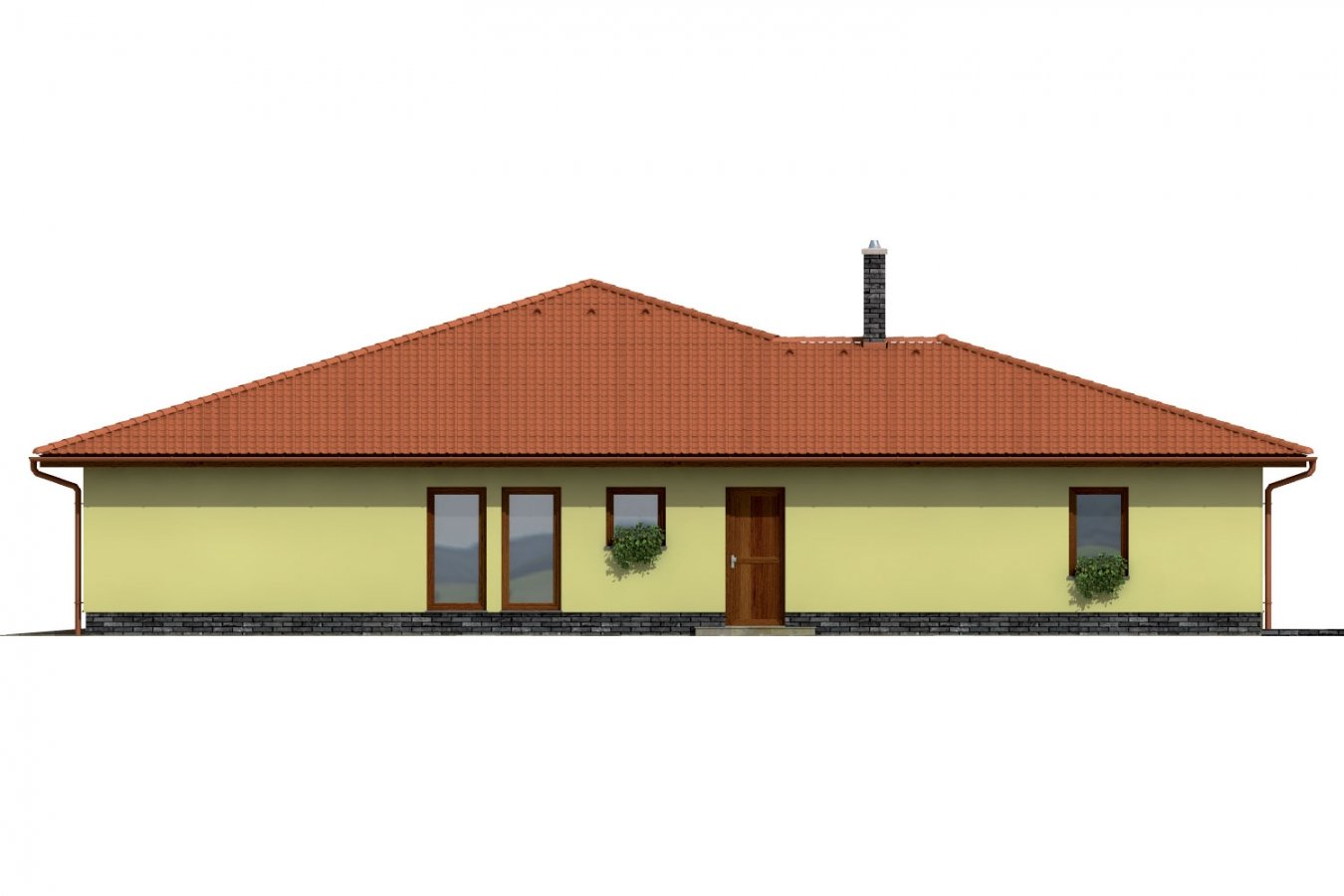 Pohľad 1. - Exkluzívny bungalov s dvomi garážami.