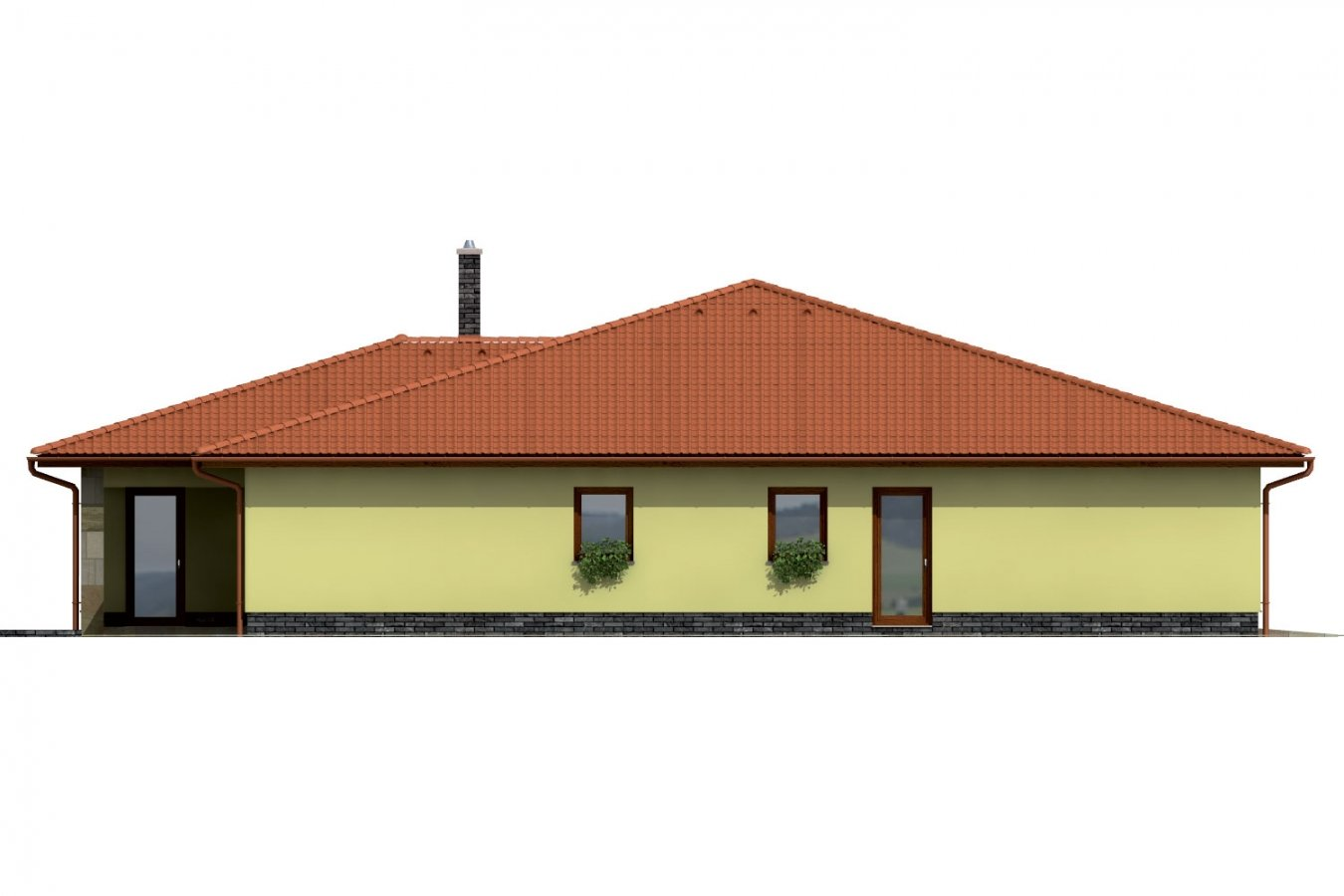 Pohľad 3. - Exkluzívny bungalov s dvomi garážami.
