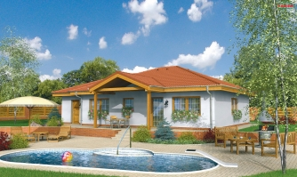 Prízemný rodinný dom. Dá sa realizovať aj bez garáže. Vhodný na široký a úzky pozemok.