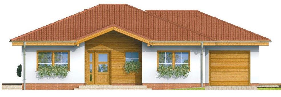 Pohľad 1. - Prízemný rodinný dom. Dá sa realizovať aj bez garáže. Vhodný na široký a úzky pozemok.