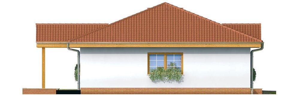 Pohľad 2. - Prízemný rodinný dom. Dá sa realizovať aj bez garáže. Vhodný na široký a úzky pozemok.