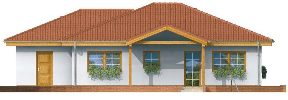 Pohľad 3. - Prízemný rodinný dom. Dá sa realizovať aj bez garáže. Vhodný na široký a úzky pozemok.