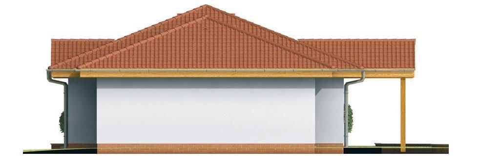Pohľad 4. - Prízemný rodinný dom. Dá sa realizovať aj bez garáže. Vhodný na široký a úzky pozemok.