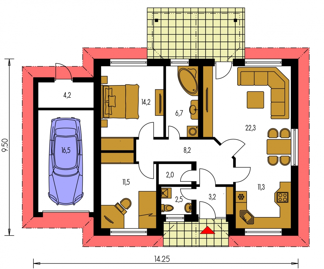 Pôdorys Prízemia - Prízemný rodinný dom. Dá sa realizovať aj bez garáže. Vhodný na široký a úzky pozemok.