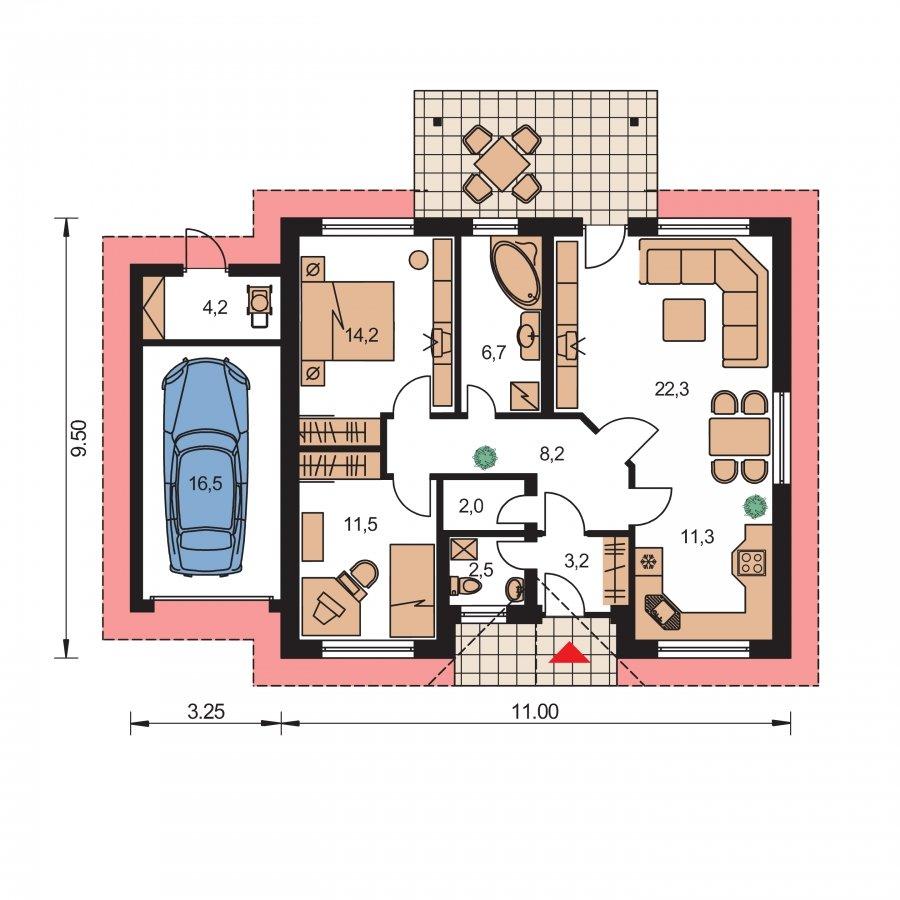 Pôdorys Prízemia - Prízemný rodinný dom