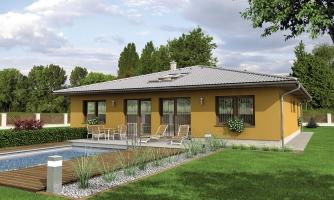 Dom so stanovou strechou a presvetlenou obývacou izbou so strešnými oknami.