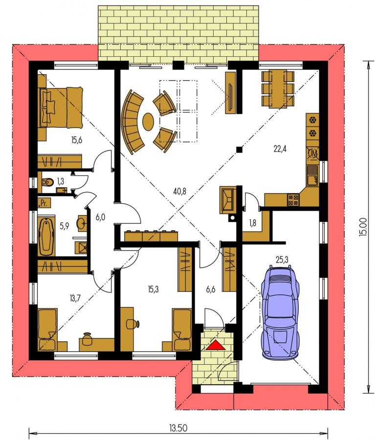 Pôdorys Prízemia - Dom so stanovou strechou a presvetlenou obývacou izbou so strešnými oknami.