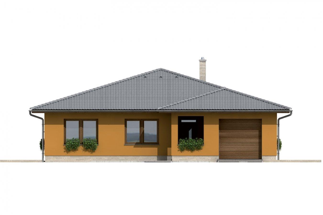 Pohľad 1. - Dom so stanovou strechou a presvetlenou obývacou izbou so strešnými oknami.