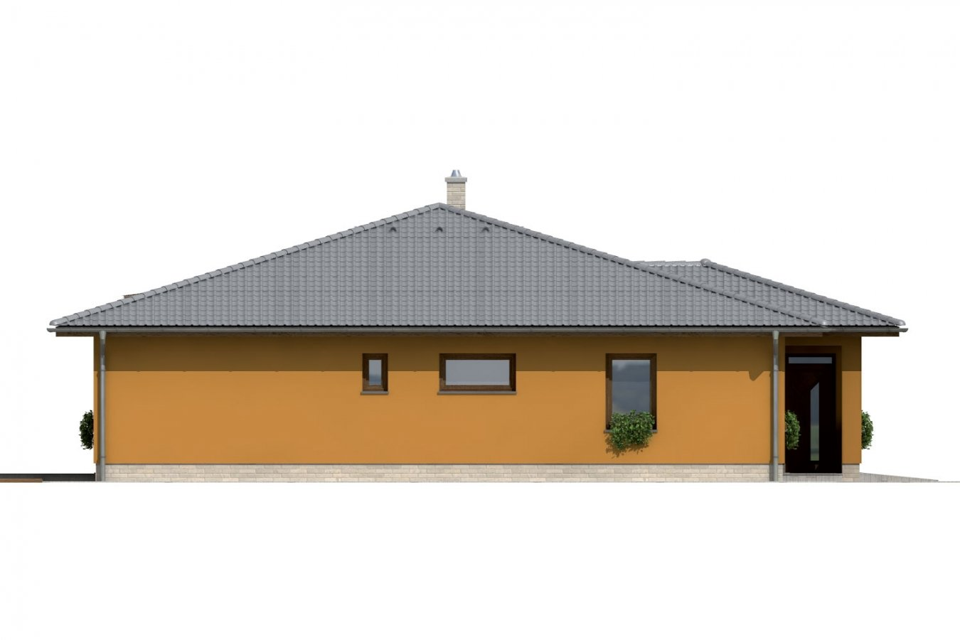 Pohľad 2. - Dom so stanovou strechou a presvetlenou obývacou izbou so strešnými oknami.