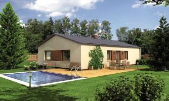 Jednoduchý úzky 4-izbový rodinný dom.