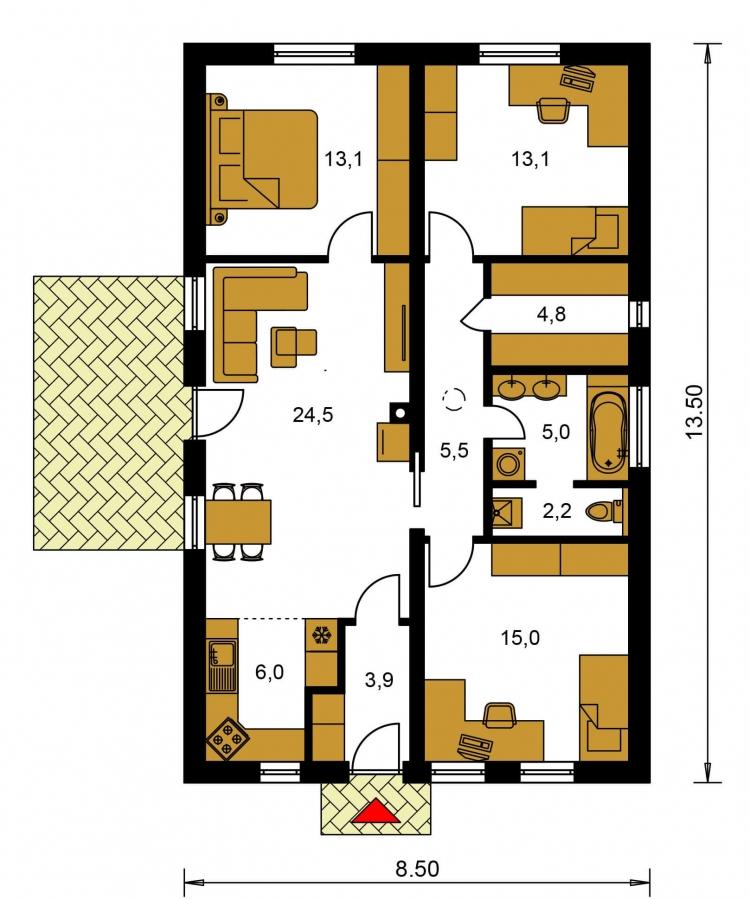 Pôdorys Prízemia - Jednoduchý úzky 4-izbový rodinný dom.