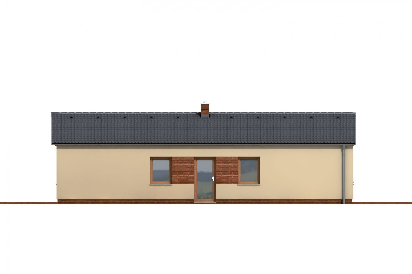 Pohľad 1. - Jednoduchý úzky 4-izbový rodinný dom.