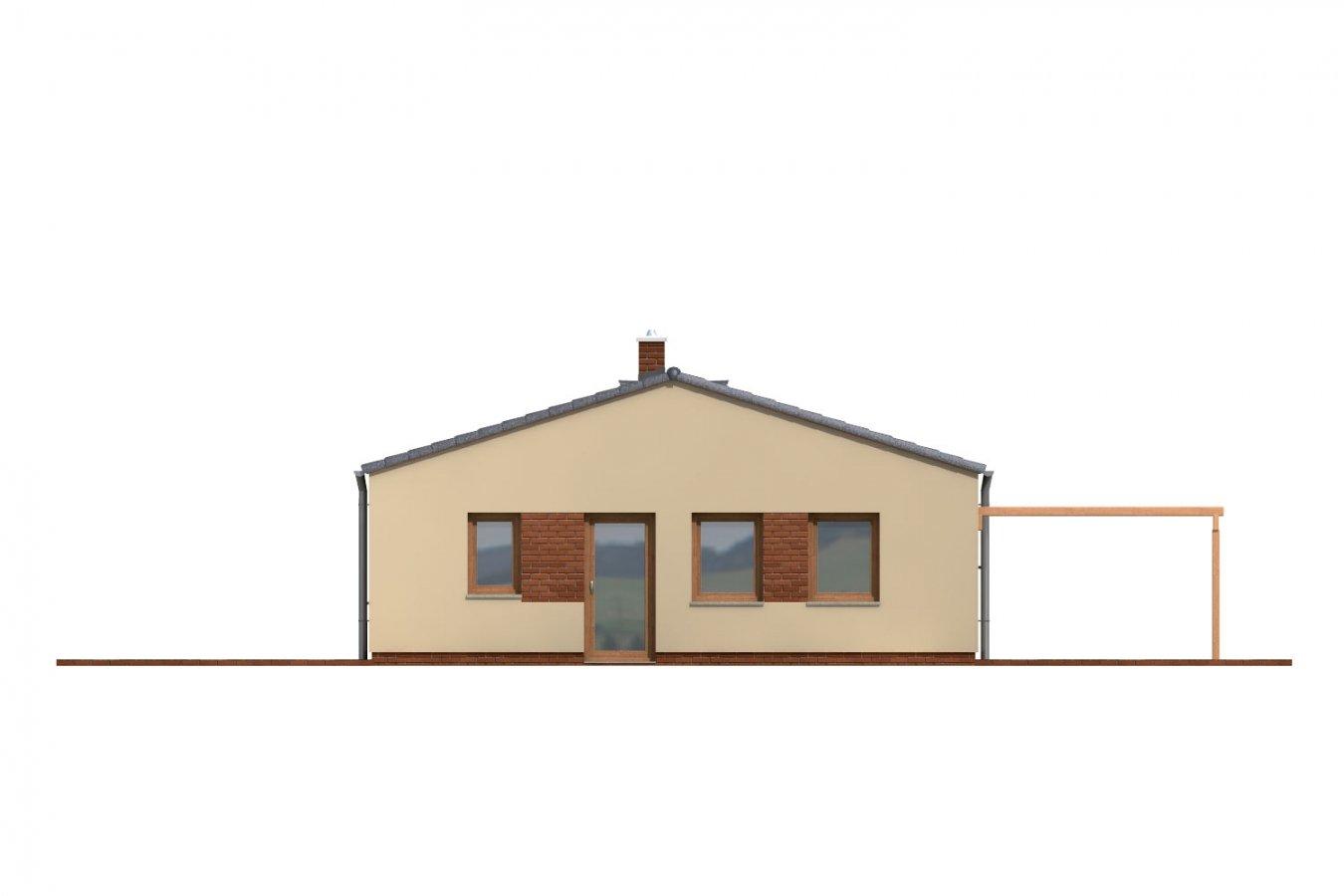 Pohľad 4. - Jednoduchý úzky 4-izbový rodinný dom.