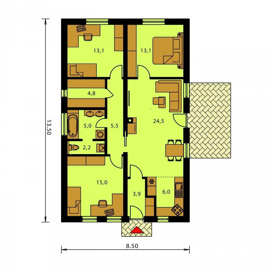 Pôdorys Prízemia - Jednoduchý úzky rodinný dom