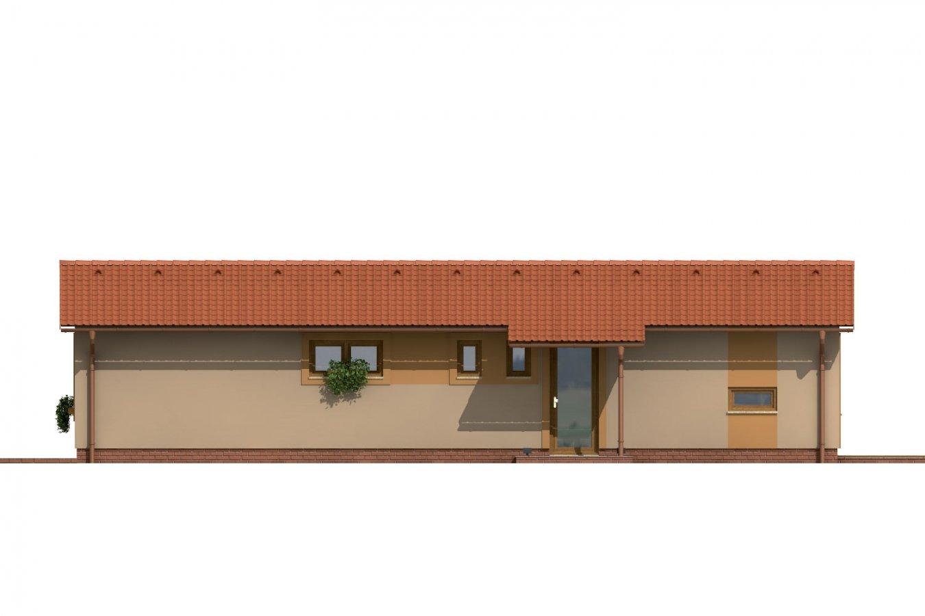 Pohľad 1. - Dom so sedlovou strechou vhodný na úzky pozemok.