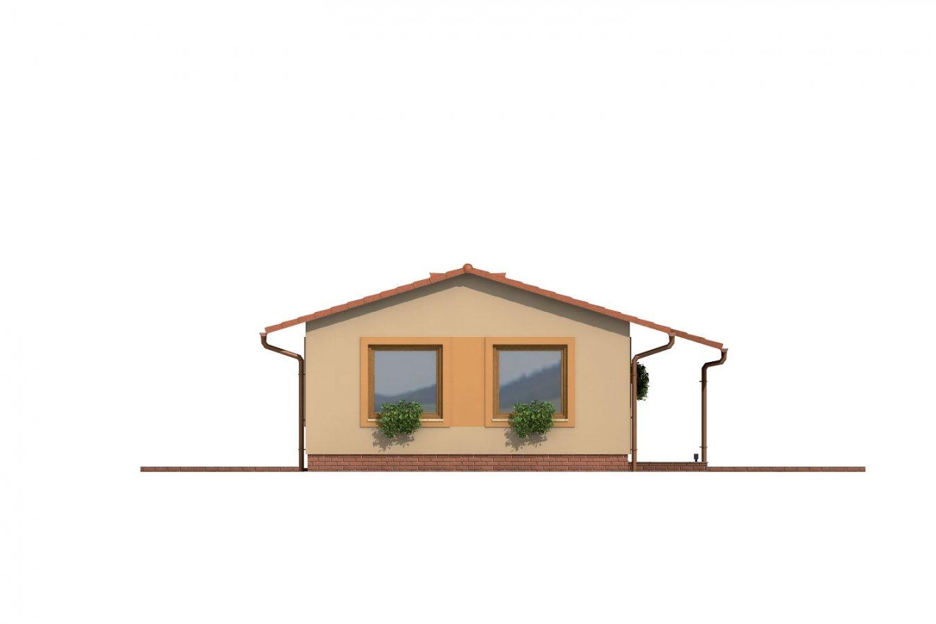 Pohľad 2. - Dom so sedlovou strechou vhodný na úzky pozemok.