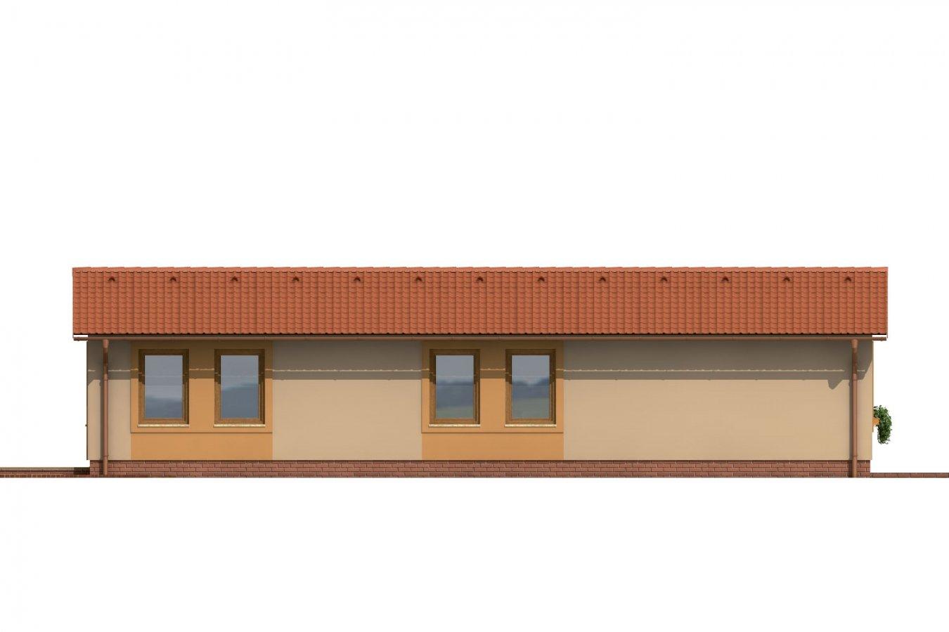 Pohľad 3. - Dom so sedlovou strechou vhodný na úzky pozemok.