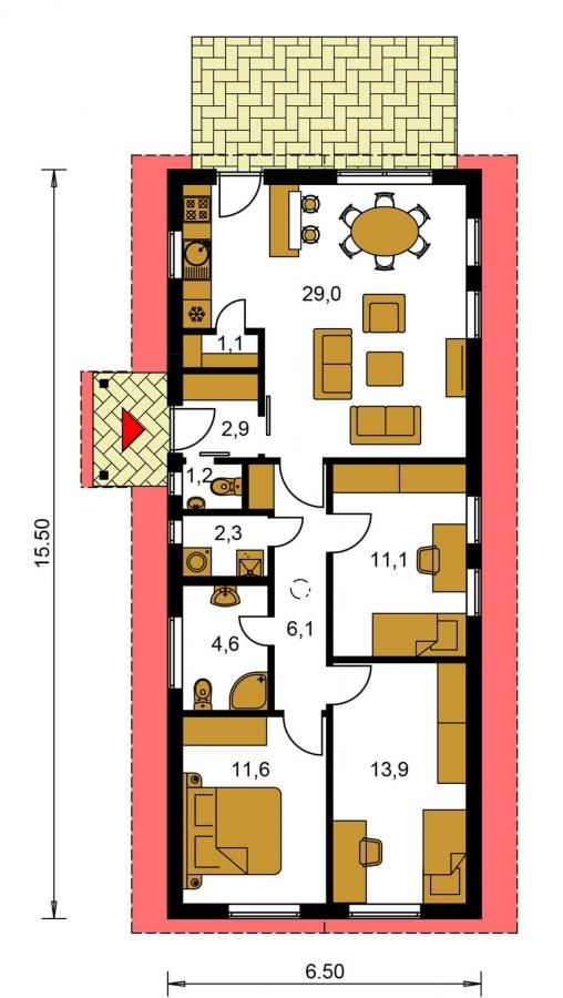 Pôdorys Prízemia - Dom vhodný na úzky pozemok