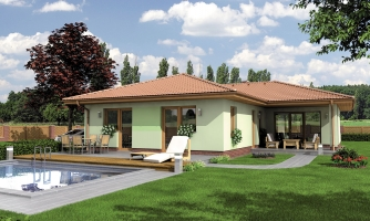 Rodinný dom do tvaru L s krytou terasou.