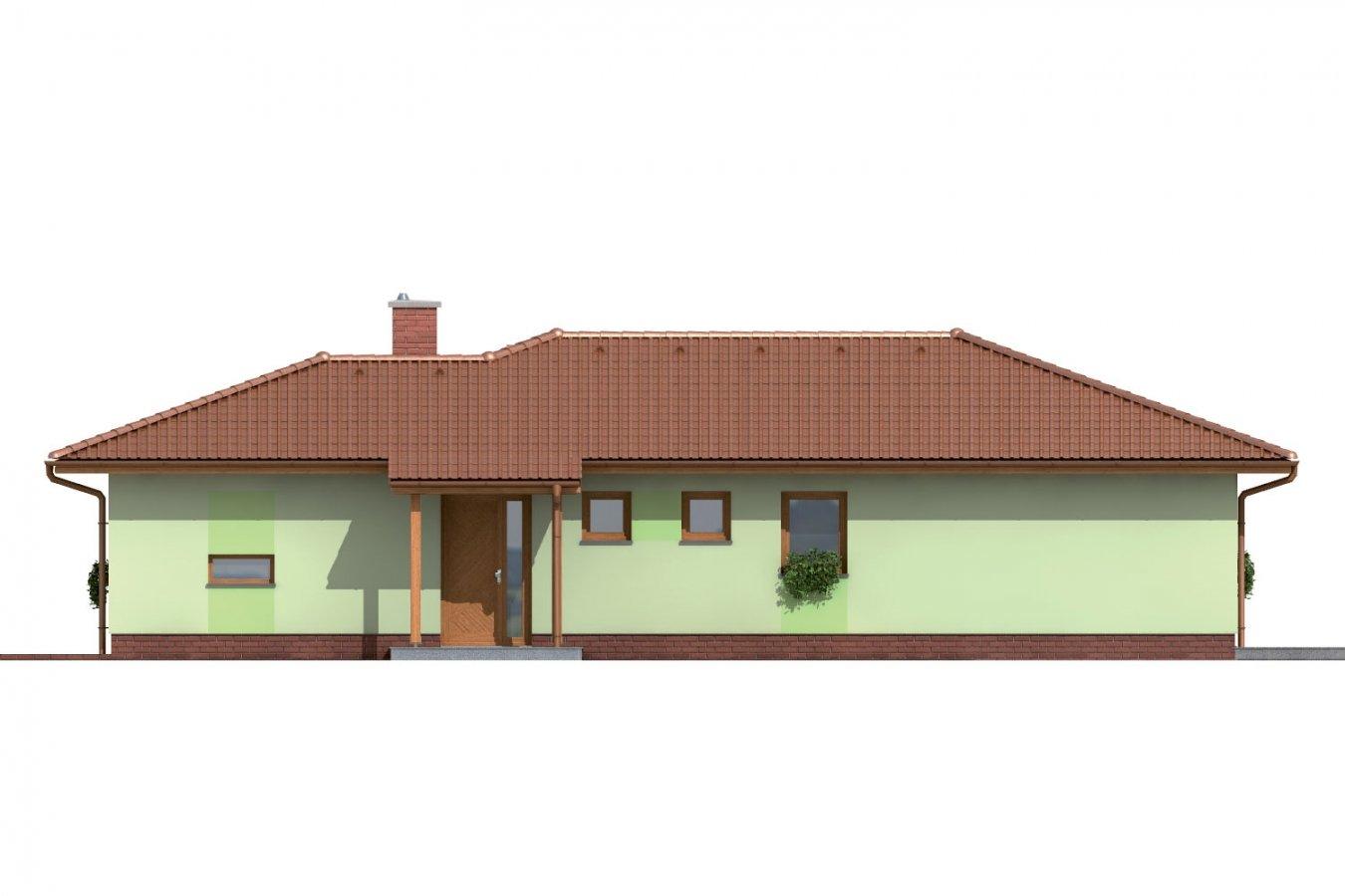 Pohľad 1. - Rodinný dom do tvaru L s krytou terasou.