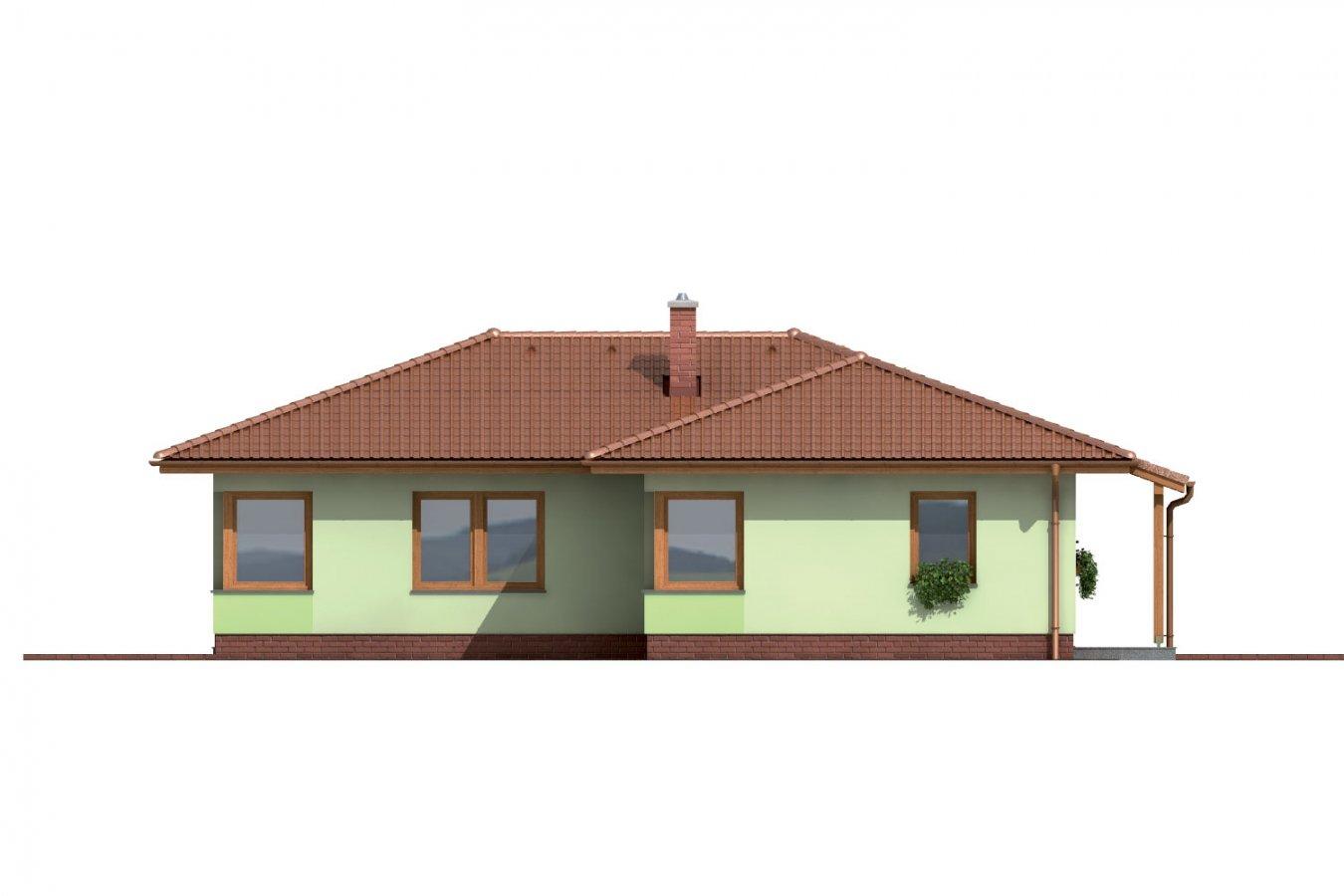 Pohľad 2. - Rodinný dom do tvaru L s krytou terasou.