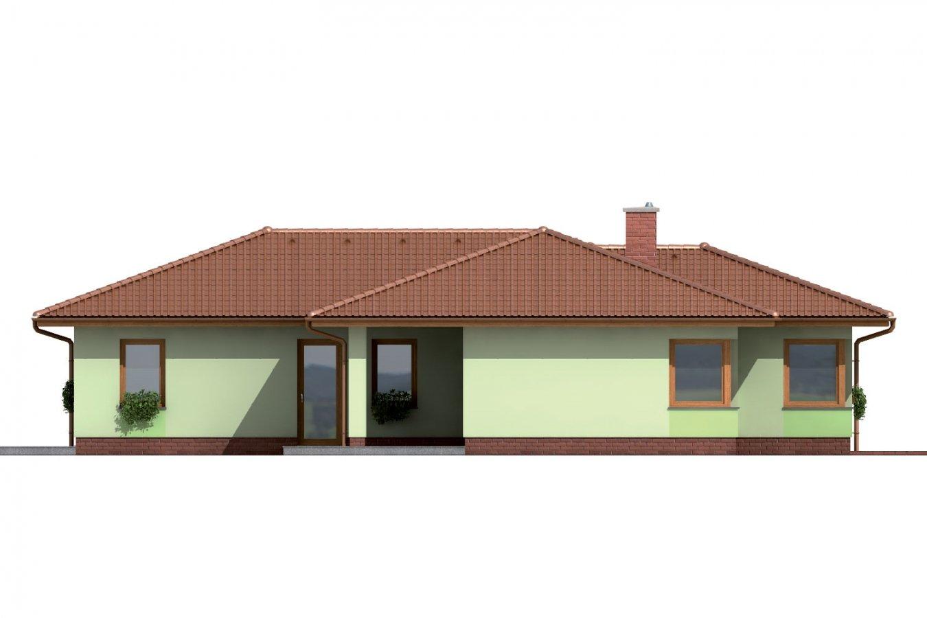 Pohľad 3. - Rodinný dom do tvaru L s krytou terasou.